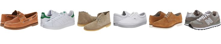 Left to right: Sperry boat shoes, Adidas Stan Smith, Clarks Desert Boot, Vans canvas sneakers, Bass Oxfords, NB 574