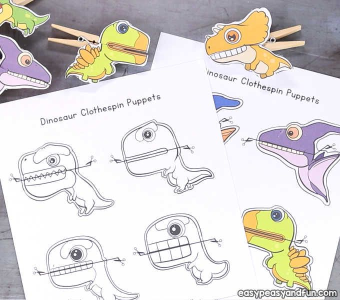 Dinosaurs Clothespin Puppets Printable Paper Craft Dinosaur Crafts Kids Papercraft Printable Dinosaur Crafts