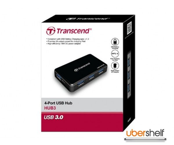 Transcend 4-port USB 3.0 Hub - Black
