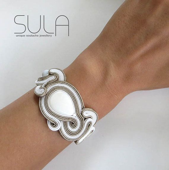 nice cool Unique Beige Soutache Cuff Bracelet white Bracelet  by sutaszula......