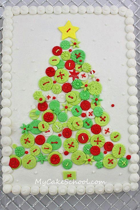 fondant buttons!: Cakes Tutorials, Christmas Cakes, Buttons Cakes, Mycakeschool Com, Fondant Buttons, Christmas Ideas, Christmas Trees, Trees Cakes, Mycakeschool Blog