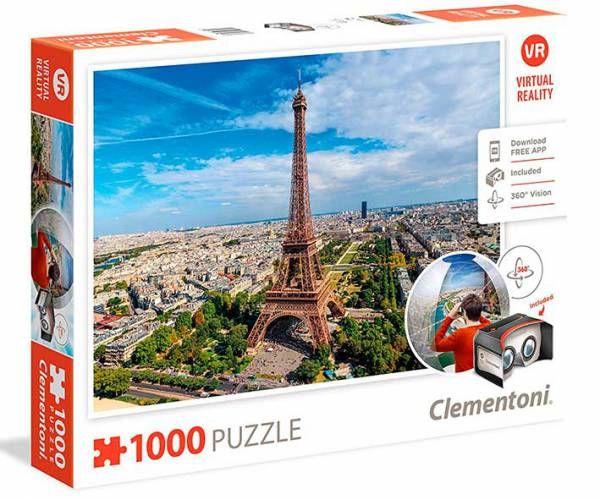 ¡LO MÁS NUEVO EN PUZZLES! Visita la Torre Eiffel con visión 360 grados después de montar el rompecabezas.  Puzzle CLEMENTONI: Puzzle de 1000 piezas París realidad virtual ( Ref: 0000039402 ) en Puzzlemania.net