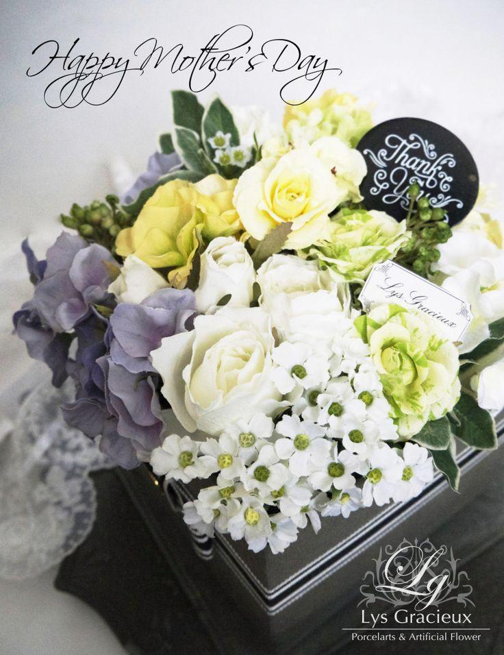 ★Happy Mother's Day Lesson 2017 ご予約受付開始しました☆ 札幌・円山 Lys Gracieux(リスグラシュ)ポーセラーツ・クレイ・フラワー#mother'sday#gift#flower#Sapporo#artificial#box#lesson#ナチュラル#札幌#レモン#ラベンダー#ボックスアレンジメント#フラワーアレンジメント#花#母の日#プレゼント