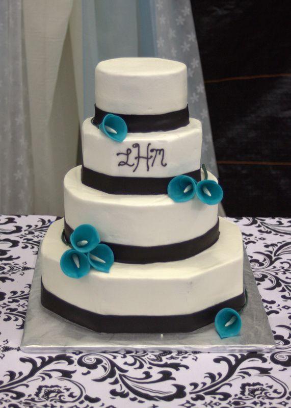 Gâteau de mariage noir blanc et turquoise | noir | Cake Place   – Wedding