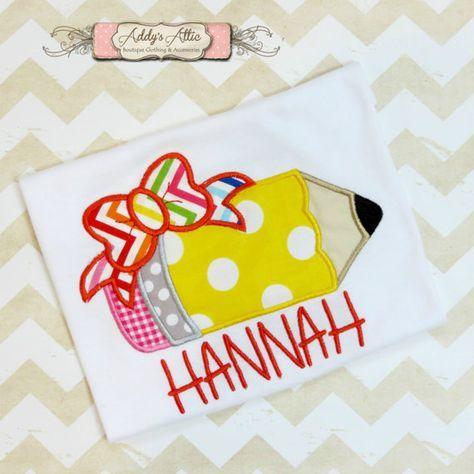 Back to School Shirt, Pencil Shirt, Applique Shirt, Toddler Girls Shirt, Personalized Shirt, Monogram Shirt on Etsy, $22.00