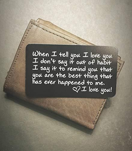 Engraved Wallet Inserts – Perfect Anniversary Gifts for Men; Surprise Him with this Engraved Handmade Mini Love Note; Anniversary Card from Wife; Anni…