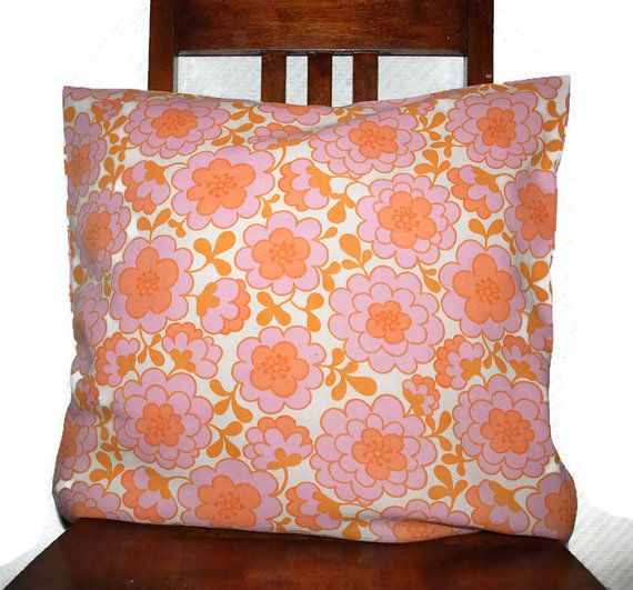 Flower, retro, decorative Pillow Cover, Throw pillow cover, upcycled fabric, couch pillow cover, cushion case