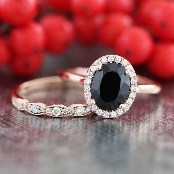 14k Rose Gold Black Spinel Diamond Engagement Ring and Scalloped Diamond  Wedding Band Bridal Set 9x7mm Oval Cut Color Gemstone Ring SetBest 25  Black diamond wedding rings ideas on Pinterest   Black  . Hippie Wedding Rings. Home Design Ideas