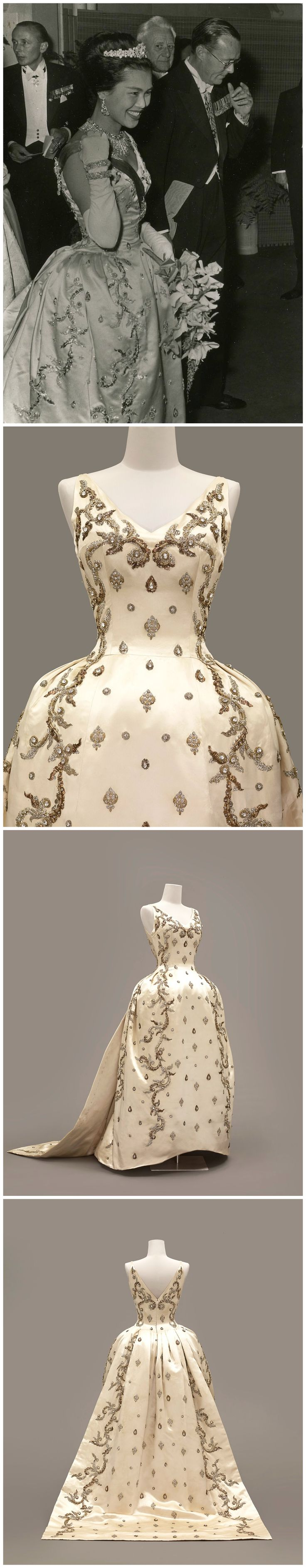Evening dress, by Balmain, spring 1960. Silk satin with metal and iridescent thread and crystal embroidery by House of Lesage. Worn by Queen Sirikit of Thailand. Collection of Queen Sirikit Museum of Textiles.