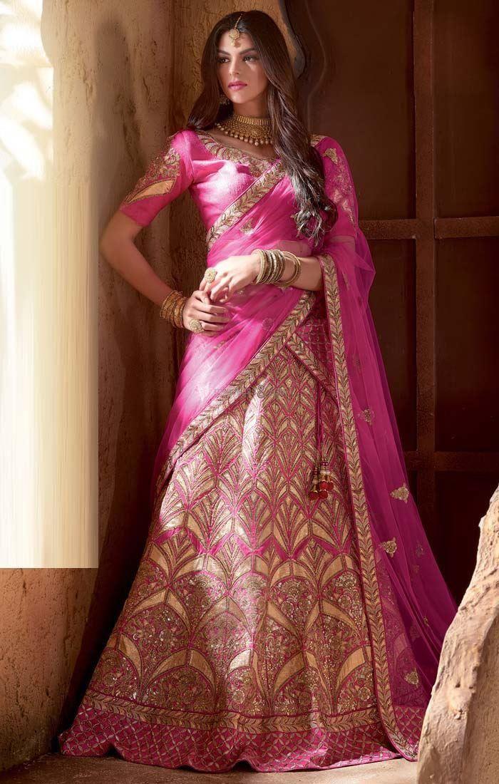pink bridal lehenga blouse neck designs marriage dress for indian bride
