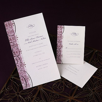 Embellished  A pink strip with faded red and purple flourishes is printed alongside your wording on this white, non-folding invitation. Choose a motif to be printed above your wording. Only available in the format shown. Single envelopes are included. Envelope liners are not available.