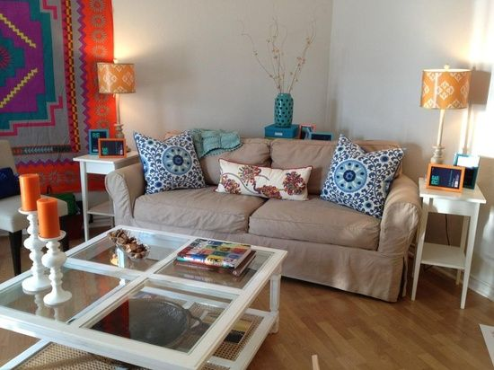 brighten up a room with lampshades, pillows, picture frames, and candles for cheap