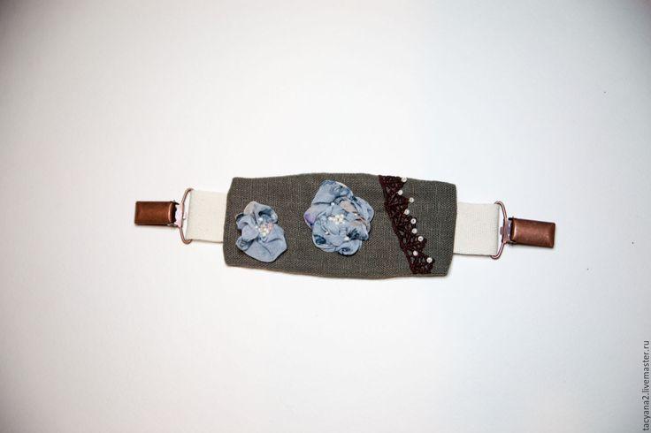 Купить Декоративный хлястик, подхват - хаки, однотонный, подхват, бохо, голубая роза, лён, шифон