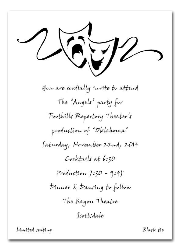 Drama Masks Invitations College Graduation Parties