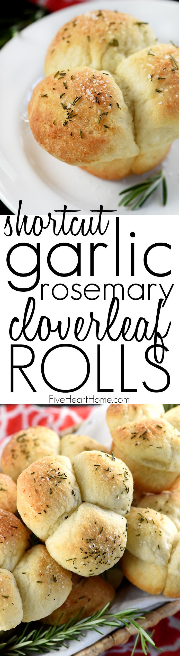 Quick & Easy Garlic Rosemary Cloverleaf Dinner Rolls ~ when time is short and homemade isn't possible, frozen bread dough is a quick and easy shortcut ingredient for making lovely dinner rolls, perfect for Thanksgiving, Christmas, Easter, or any holiday meal or special occasion! | FiveHeartHome.com