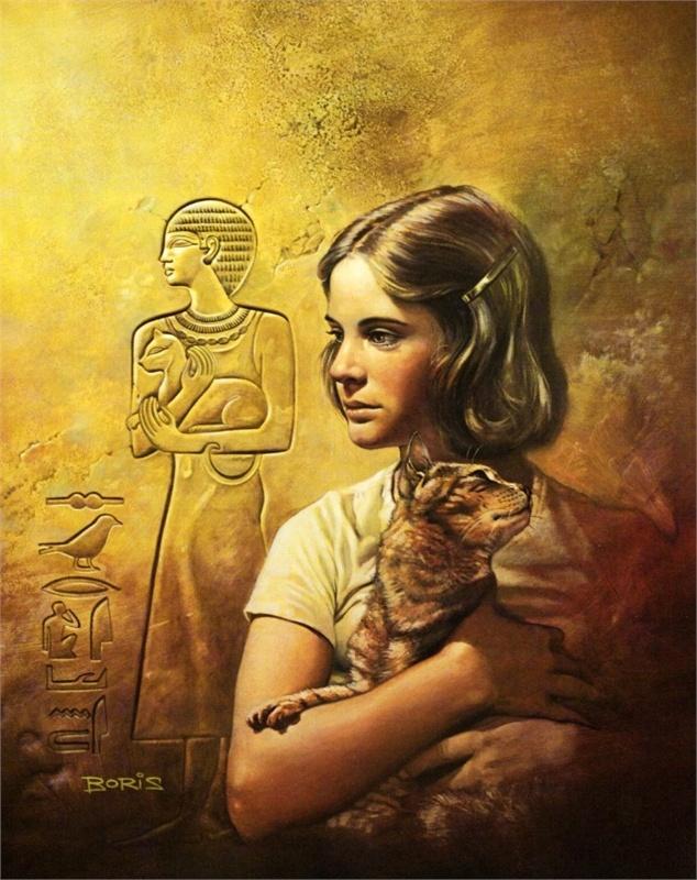 gatos egipcios, ilustración de Boris Vallejo