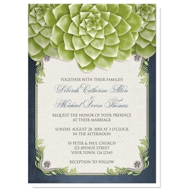 Rustic Succulent Garden Navy Wedding Invitations for your perfect #wedding day!   #invitations   Country-inspired navy blue and green garden Wedding Invitations and optional matching RSVP reply cards, designed with 3 large and lovely green succulent blossoms at the top over a beige canvas texture illustration framed with a leafy green decorative border, striped gray, and 4 floral metal pin illustrations. These beautiful succulents make these invitations a lovely choice for Spring and Summer…