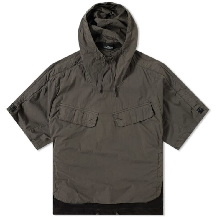 STONE ISLAND SHADOW PROJECT SHORT SLEEVE NYCO SMOCK PARKA OLIVE GREEN