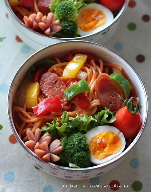 Tomato Ketchup Spaghetti (aka Neapolitan, Popular Pasta in Japan) Bento BoxLunch|ナポリタン弁当