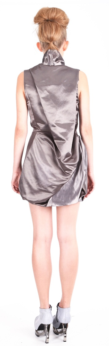 Back view: Dress ( silk satin), shoes ( leather, stainless-steel heel)