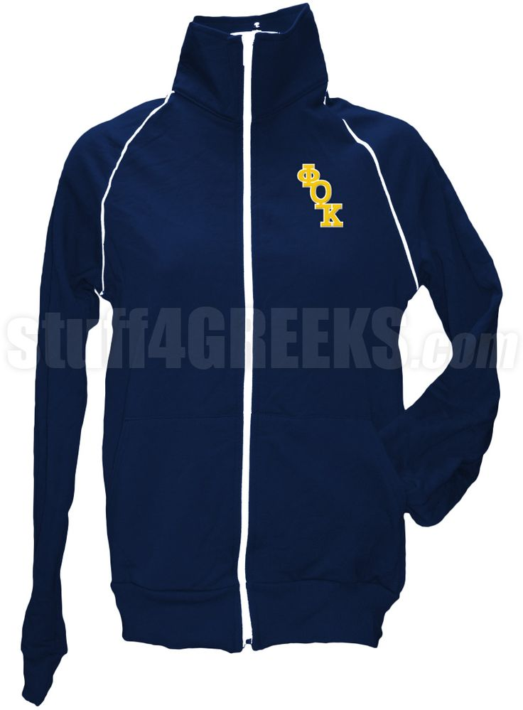 Navy blue Phi Theta Kappa track jacket with logo letters on the left breast.
