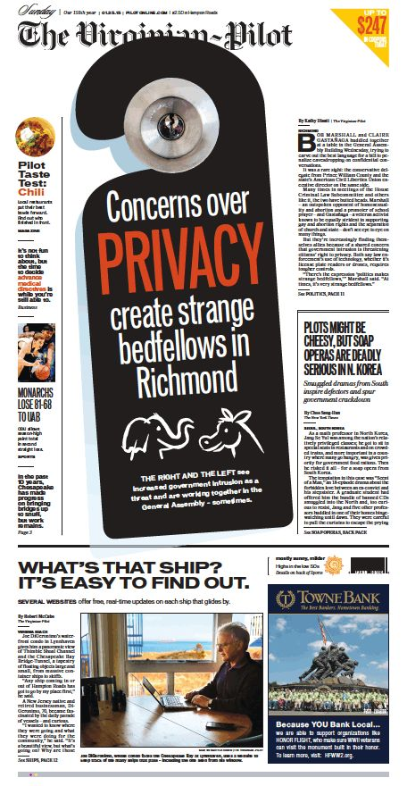 The Virginian-Pilot's front page for Sunday, Jan. 25, 2015.