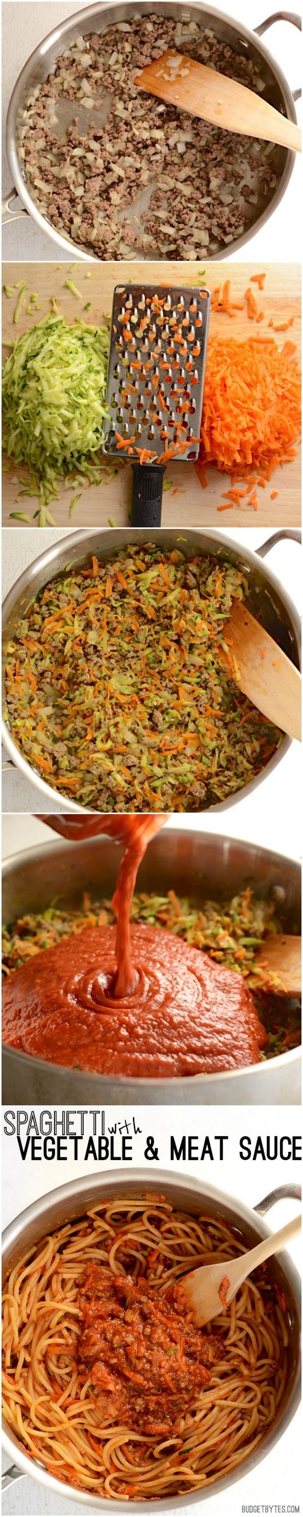 Take basic jarred pasta sauce up a notch with a medley of shredded vegetables and extra herbs and spices. Spaghetti with Vegetable and Meat Sauce - BudgetBytes.com