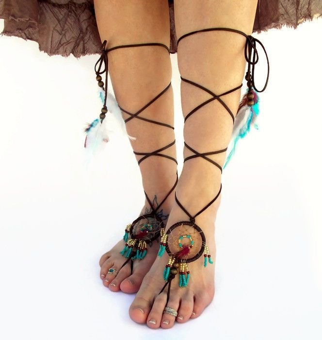 Dream Catcher Barefoot Sandals now available in Gold, Wine and Turquoise color scheme...My goal was to replicate the dream catcher as authentically as possible, so I decided to weave the dream catcher with imitation sinew. The base of the dream ca...