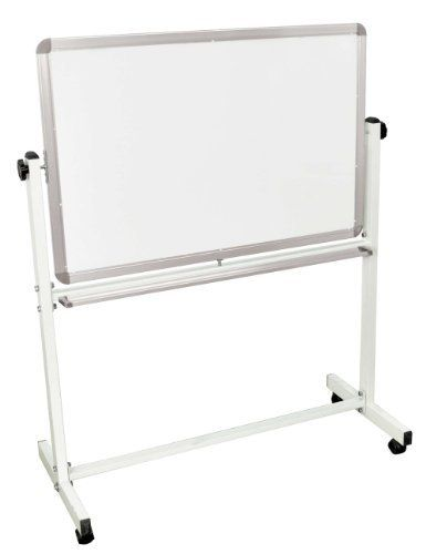 luxor mobile white double sided reversible dryerase adjustable magnetic whiteboard easel with silv by - Rolling Whiteboard