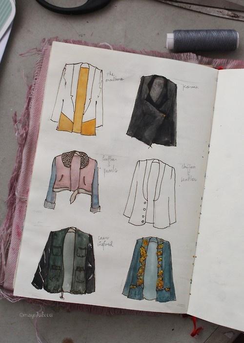 fashion sketchbook - jacket designs, drawing clothes