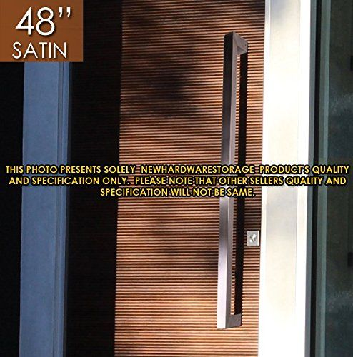 "Pull Push 48"" Handles for Entrance Entry Front Door, Interior and Exterior, Satin Finish, Storefront Door, Commercial Entry Gate and Office Door, Modern and Decent Design Rectangle Style."