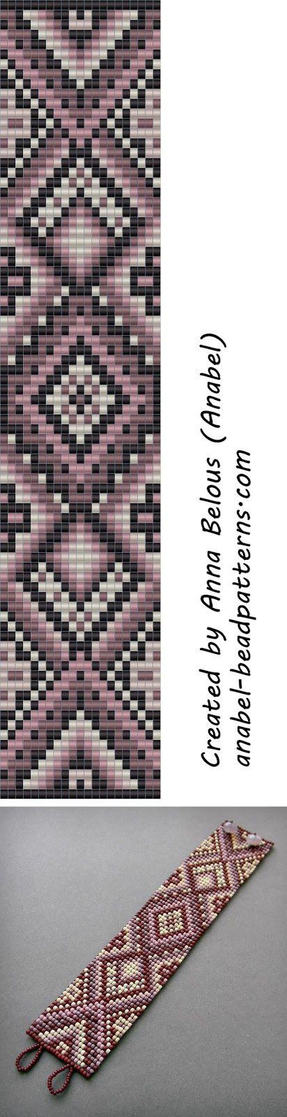 Схема браслета в сиреневых тонах - ткачество / гобеленовое плетение beaded pattern #beadwork #bracelet