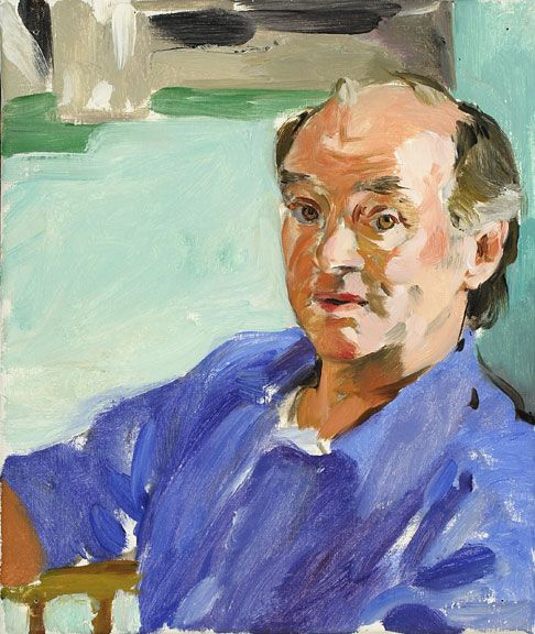 Sandra Fisher MC in Blue Shirt 1992 oil on canvas, 12 x 10 inches Collection of Max Kitaj