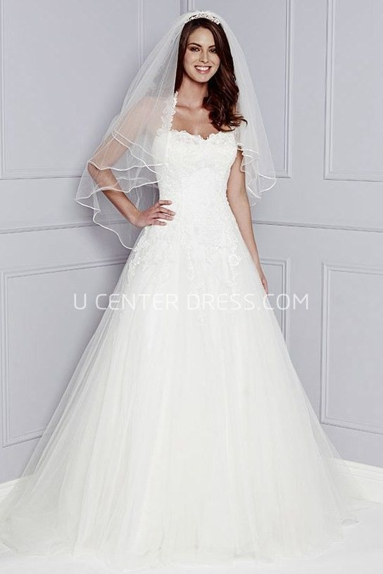 A Line Strapped Appliqued Sleeveless Long Tulle Wedding Dress Formal DressesStrapless