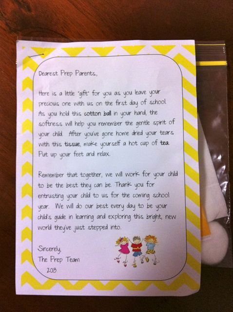 child makes  u2013 first day of school letter to parents