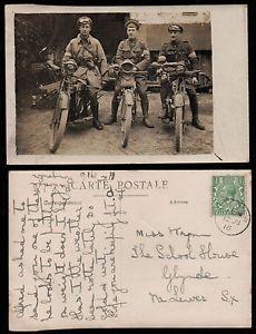 WORLD-WAR-I-motor-cycle-1916-postmark-RINGMER-Wyman-School-House-Glynde