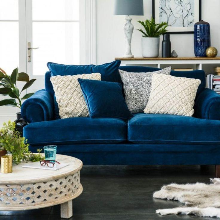 Lisette 3.5 Seater Sofa Indigo Velvet