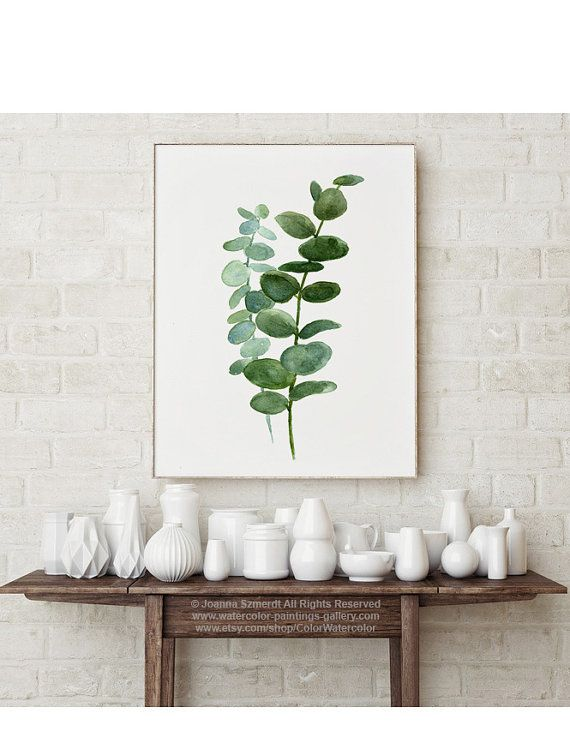 Silver Dollar Eucalyptus Leaves Green Blue Leaf Watercolor Painting, Botanical Kitchen Illustration Wall Poster Living Room Plant Decoration