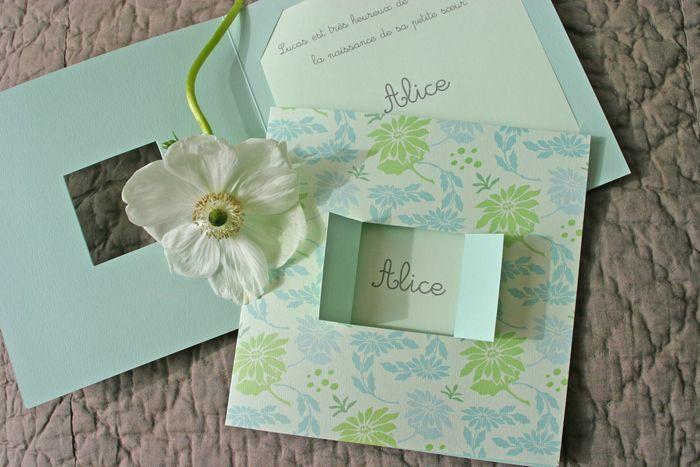 Faire-part de naissance Marguerite www.dancourt.net © 2015 DANCOURT #fairepart #naissance #birth #annoucement #garcon #fille #creatif #tendance #design #original #elegant #chic #liberty #fleurs #vert #pastel