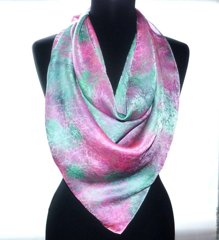 Купить платок шёлковый большой мятно розовый шелк жаккард - платок батик, платок в подарок