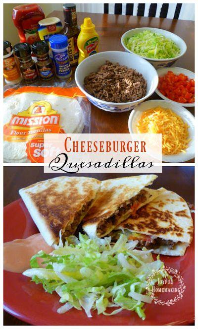 Delicious Easy Cheeseburger Quesadillas - Joyful Homemaking