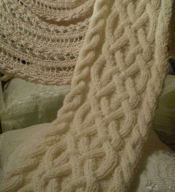 Celtic Knot Scarf Knitting Pattern : Cream Fishermans Wool Celtic Knot/Cable Knit Scarf