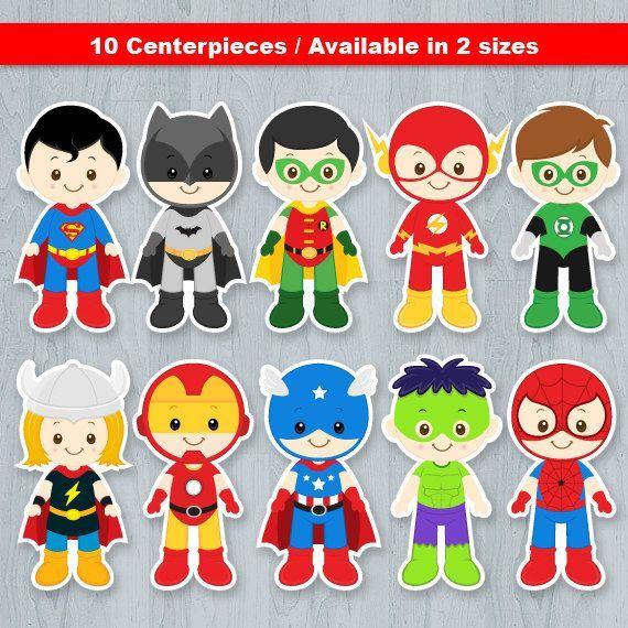 Superhero Centerpiece Superhero Table Centerpiece por KidzParty