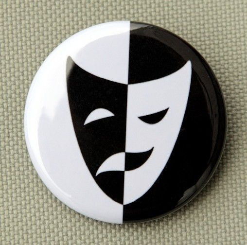 Comedy+Tragedy+Mask++Button+Pinback+Badge+1+1/2+by+theangryrobot