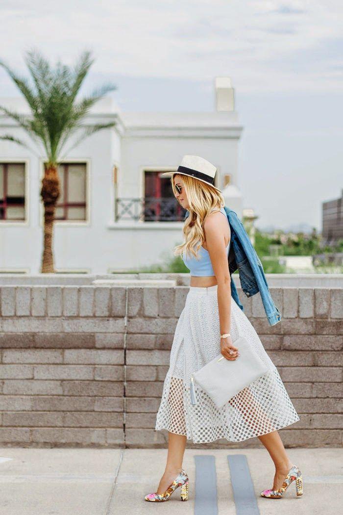 A Little Dash of Darling - White Eyelet Midi Skirt