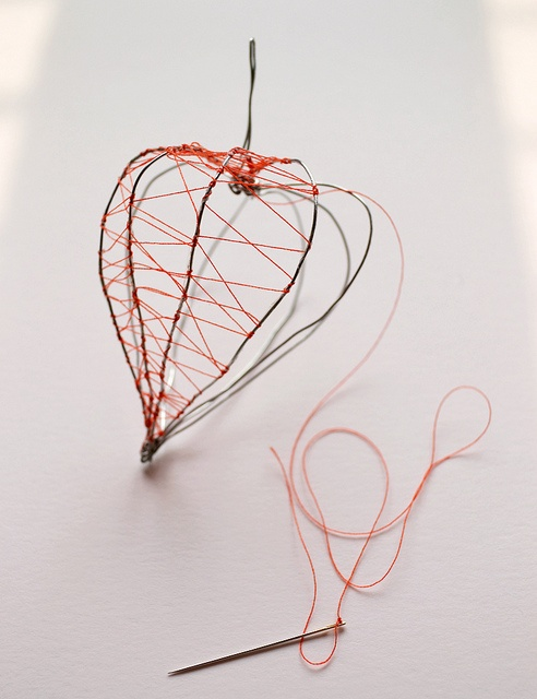 Work in progress: Chinese lantern by Anne van Midden | Inspire Styling. Embroidery, thread art, wire, botanical.