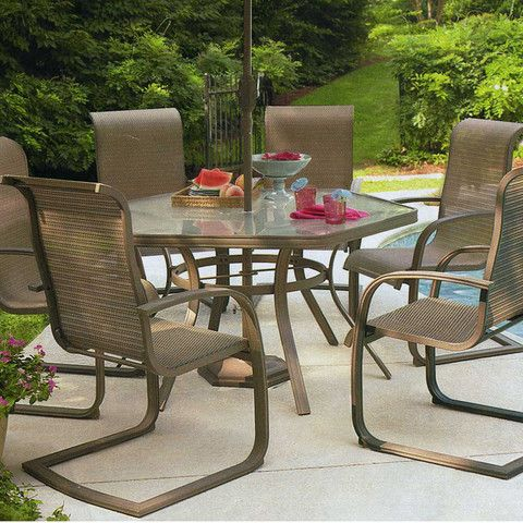 Recently Sold At Sears As Part Of The Garden Oasis Grandview Collection,  The Grandview Patio Set Features A Hexagonal Tempered Glass Tab.