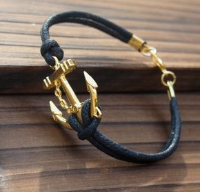 Anchor bracelet antique gold Jewelry for men--Quality Black Wax cord Leather--Best Gift Jewelry for Him   Personalized Bracelets   Custom Necklace   Wholesale craft supplies - Turntopretty