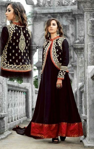 Alluring Black Designer Anarkali Suit