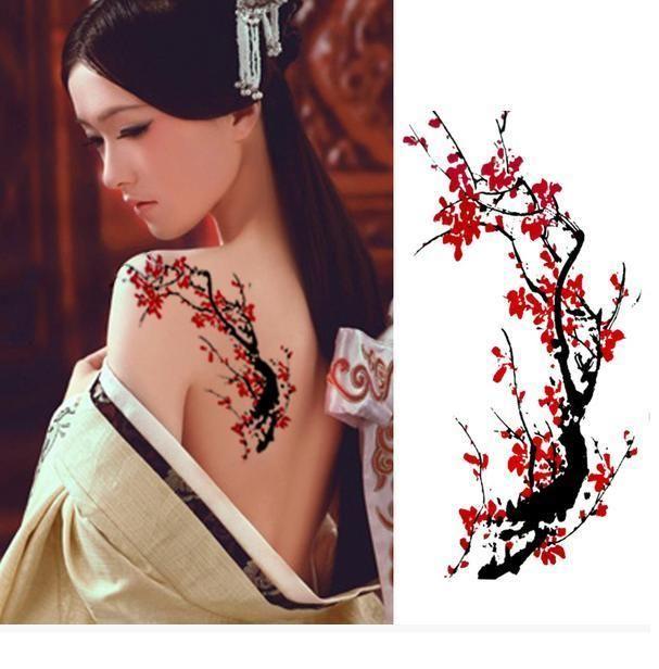 Detachable Sticker Girls Physique Artwork Tattoo Waterproof Tattoo–Plum Blossom